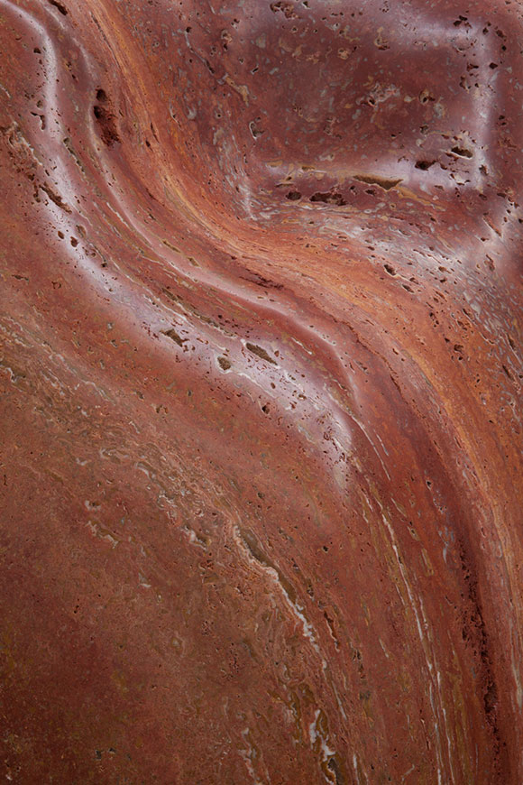 Alma Allen, Not Yet Titled (detail), 2014, Red travertine, 59 x 38 x 29 inches | Courtesy of the artist and Blum & Poe