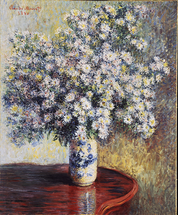 """Claude Monet. """"Asters,"""" 1880, Oil on canvas, 32 3/4x26 3/4 in. (83.2x67.9cm)"""
