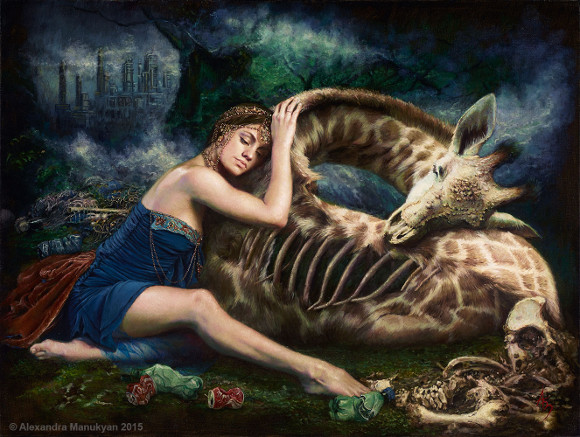 "[Click to enlarge] Alexandra Manukyan, ""Wastelands of Lament,"" 2015, oil on Belgian linen, 40 x 30 inches."