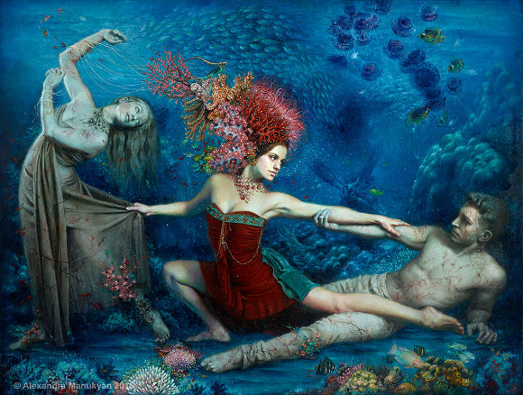 "[Click to enlarge] Alexandra Manukyan, ""When the Waters Rise,"" 2015, oil on Belgian linen, 48 x 36 inches."