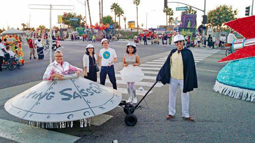 """Flying Sasser"" replica with Charles Phoenix, 2014. 