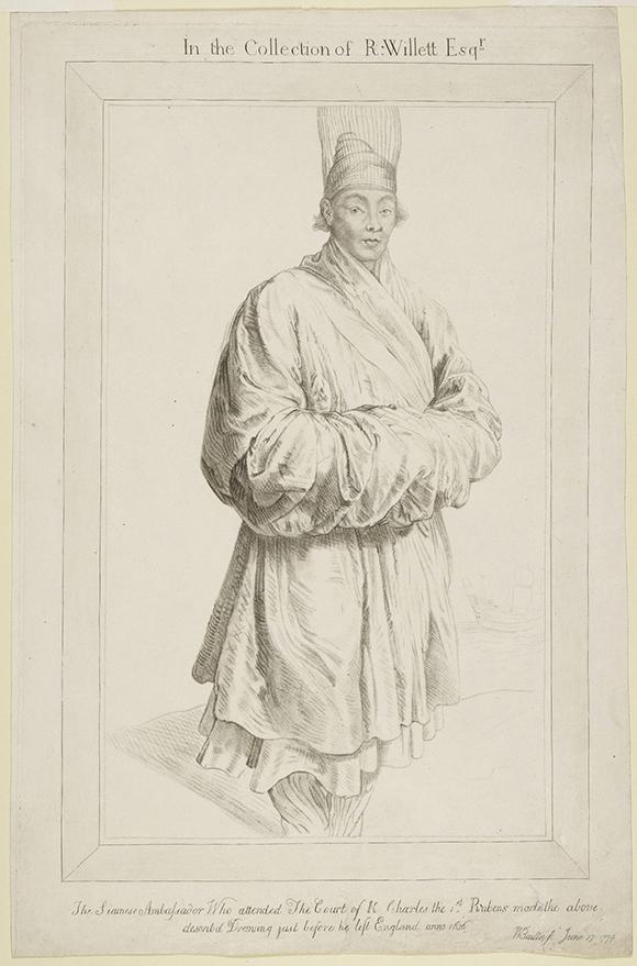 """Siamese Ambassador"" by Captain William Baillie (British, 1723-1792), June 17, 1774; Crayon manner etching; 49.8 x 32.4 cm (19 5/8 x 12 3/4 in.); The J. Paul Getty Museum, Los Angeles, Gift of Hazlitt, Gooden & Fox Ltd, 91.GE.62<br />"