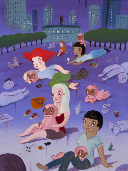 "Gary Baseman, ""Bryant Park"" (originally for The New Yorker), 2011, Acrylic on canvas 24 x 18 in."