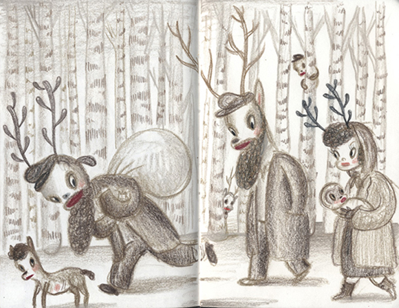 Sketchbook drawing by Gary Baseman, 2012