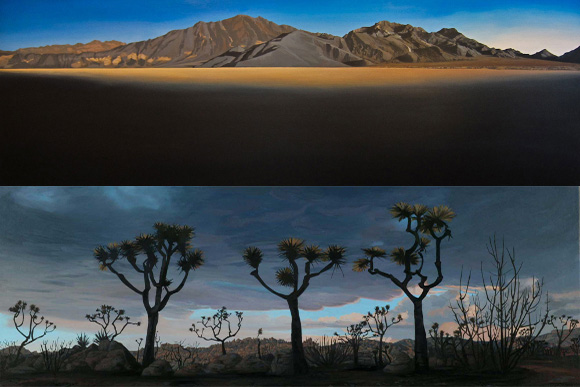 "(top) ""Racetrack, Death Valley,"" acrylic on canvas, 24 x 72 inches, (bottom) ""Sawtooths, Pioneertown, After the Burn,"" acrylic on canvas on board, 13 x 31 inches."