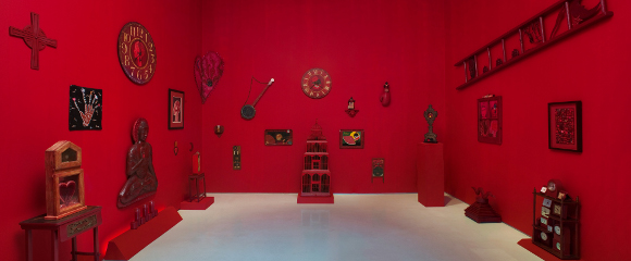 "[Click to enlarge] Installation view, ""Betye Saar: Red Time,"" September 10 - December 17, 2011, Roberts & Tilton, Culver City, California. | Photo: Robert Wedemeyer; courtesy of the artist and Roberts & Tilton, Culver City, California."