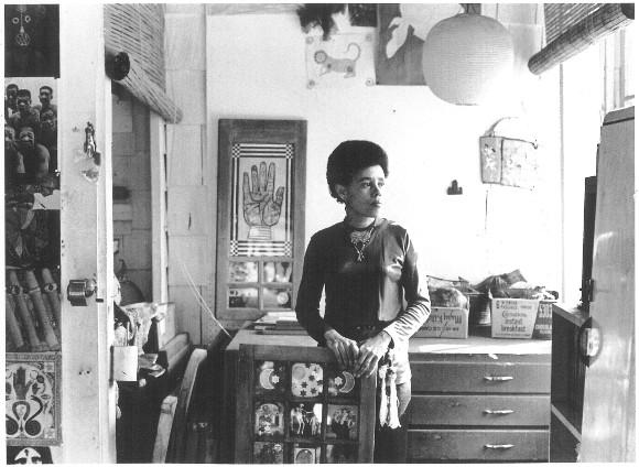"Betye Saar in her Los Angeles Studio, 1970. Pictured with ""Black Girls Window,"" in the collection of the Museum of Modern Art, New York. | Photo: Robert Nakamura."