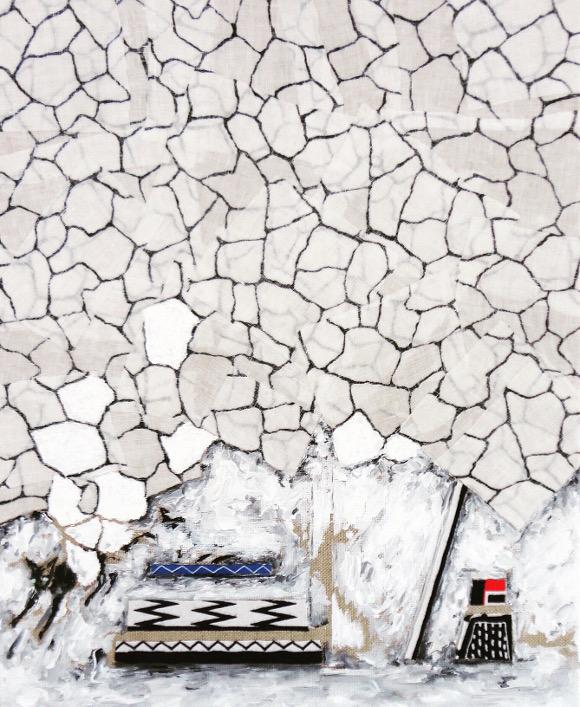 "Bibi Katholm, ""Push the Sky Away # Avalanche,"" 2015, 33 x 41 cm, mix media collage on canvas including acrylic, gouache, and fabrics."