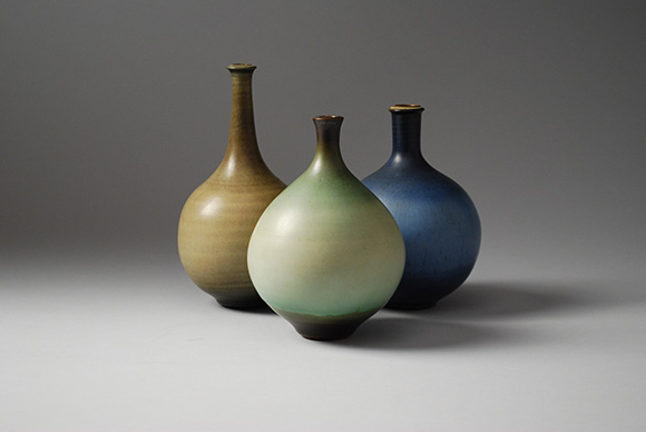 Three bottle vases, 1963-1977. Collection of Catherine McIntosh | Photo: Cynthia Madrigal/AMOCA