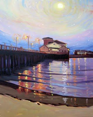 Sterns Wharf Lights Full Moon. | Courtesy: Chris Potter.