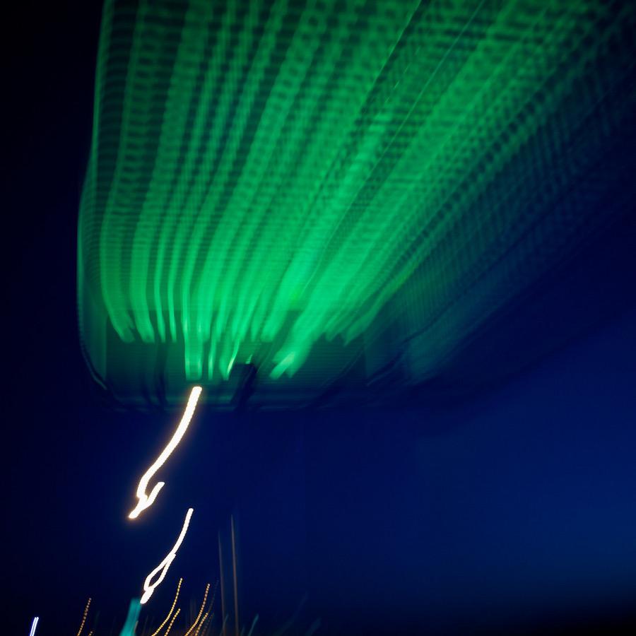 """""""Green Streaks."""" California City Blvd., CA, Highway 14. 2011.   Photo: Osceola Refetoff."""