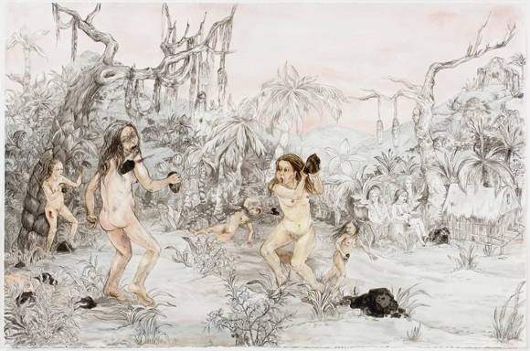 """Candice Lin, """"Failed Matriarchy,"""" 2008, ink on paper, 30 1/4 x  44  x 1 in."""
