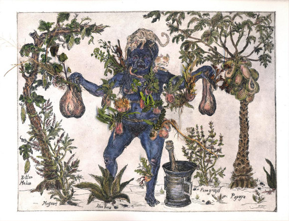 "[Click to enlarge] Candice Lin, ""Sycorax's Collections,"" 2012, etching with watercolor and dried plants."