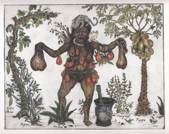 """[Click to enlarge] Candice Lin, """"Sycorax's Collections (Happiness),"""" 2012, etching with watercolor and dried plants, 11.5 x 13 in."""