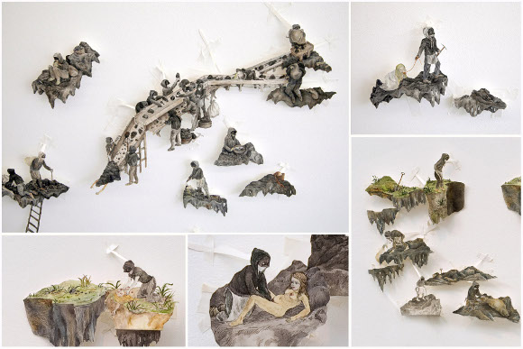 "[Click to enlarge] Candice Lin, ""Wigan Pit Brow Women"" (details), 2006-2012, ink and watercolor on cut and hinged paper, dimensions variable."