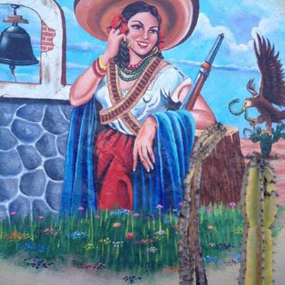 Detail of mural at Casa Adelita in La Habra.