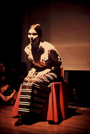 Faith Wilding performs Waiting at Womanhouse, Los Angeles, 1972. | Photo: Lloyd Hamrol. Image permission: Faith Wilding