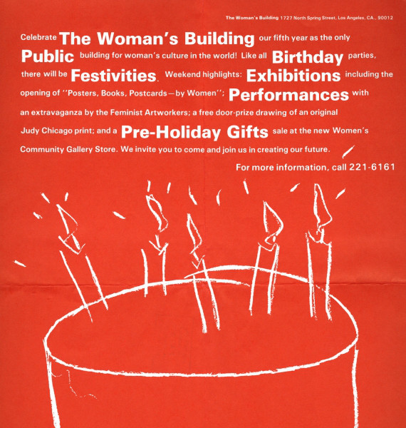 Woman's Building Fifth Anniversary poster designed by Sheila Levrant de Bretteville with an illustration by Phranc. | Image permission: Otis College of Art and Design Library