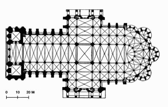 Plan of Chartres Cathedral. Located in Chartes, southwest of Paris, the cathedral is considered one of the finest examples of the French High Gothic style.