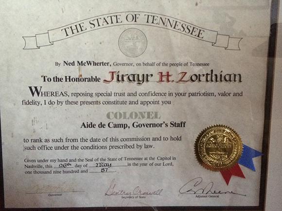 Colonel Certificate