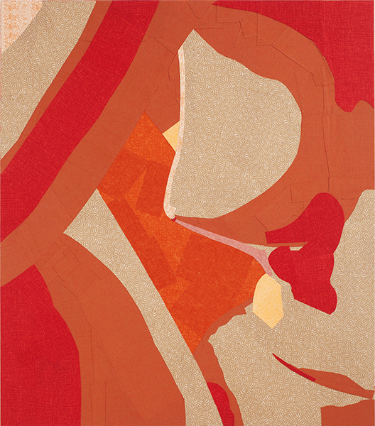 "Alika Cooper, ""Modeled Nude,"" 48"" x 42"" x 1.5"" fabric, adhesive, stretcher bars"