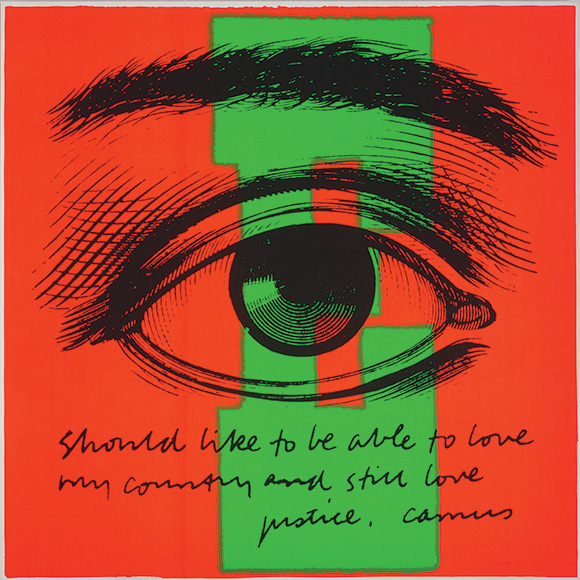 """E eye love,"" 1968. Silkscreen print on paper 23 x 23 inches. 