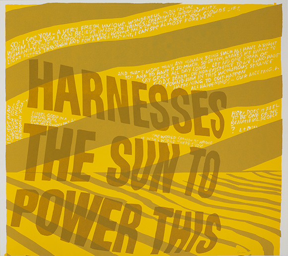 "harness the sun,"" 1967. Silkscreen print on paper. 20 ½ x 23 inches. 