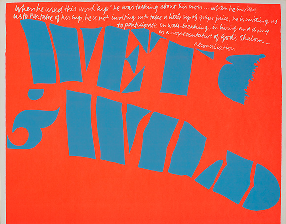 &quot;wet and wild,&quot; 1967. Silkscreen print on paper. 18 1/8 x 23 inches. | Collection: Corita Art Center, Immaculate Heart Community, Los Angeles, CA. Photograph by Arthur Evans, courtesy of the Tang Museum at Skidmore College.<br />