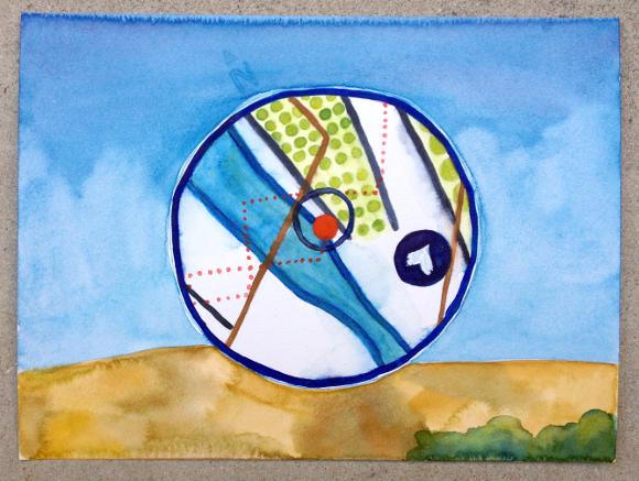 DICE-T navigation widget | Watercolor by Hillary Mushkin