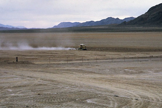 Bulldozer grading Ash Meadows for the slated Cavada Lakes estates in early the 1980s.