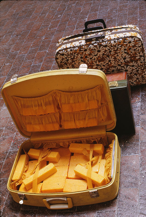 "Dieter Roth, ""Staple Cheese, A Race,"" 1970, Cheese stuffed into 37 suitcases. 