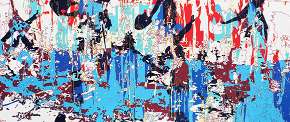 """""""Drifting Clouds and Flowing Water,"""" 2013 by Xi Hou, acrylic on canvas; 55 x 132"""" 