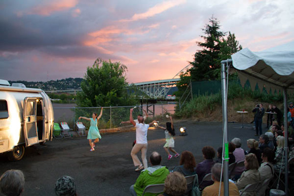 A sneak peak preview performance of Feedback on the north side of the river in Portland at sunset featuring dancers Marissa Labog (LA), Joe Schenck (LA), Carla Mann (Portland), Noel Plemmons (Portland) | Photo: Nick Shepard.