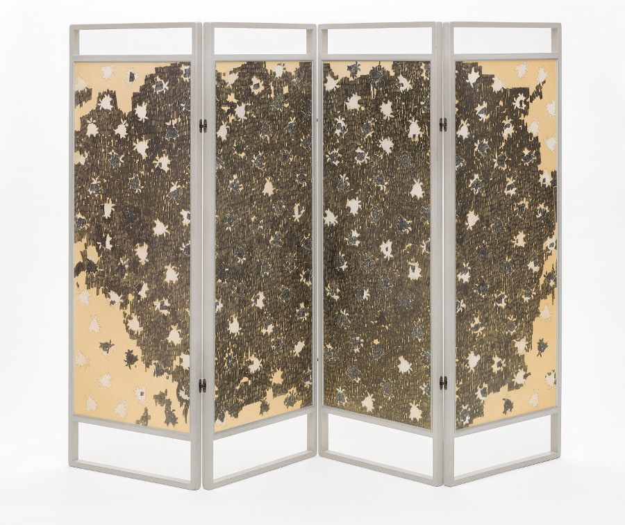 """Ed Moses, """"Rose Screen,"""" 1963. Graphite and acrylic on board in painted wood frame. Four panels: 60 x 21 1/2 inches each. Los Angeles County Museum of Art, Museum Acquisition Fund. © 2015 Ed Moses, photo. © 2015 Museum Associates/ LACMA."""