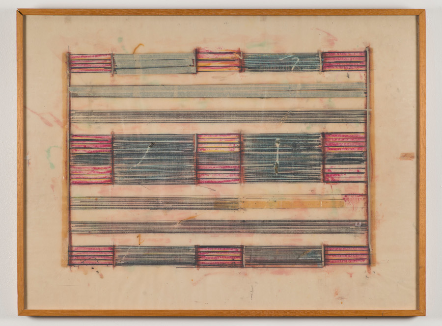 """Ed Moses, """"Untitled,"""" 1972. Graphite, crayon, and masking tape on vellum. 24 1/2 x 32 1/2 inches. Collection of Dr. and Mrs. Ken Tokita. © 2015 Ed Moses, photo. © 2015 Museum Associates/ LACMA, by Brian Forrest."""