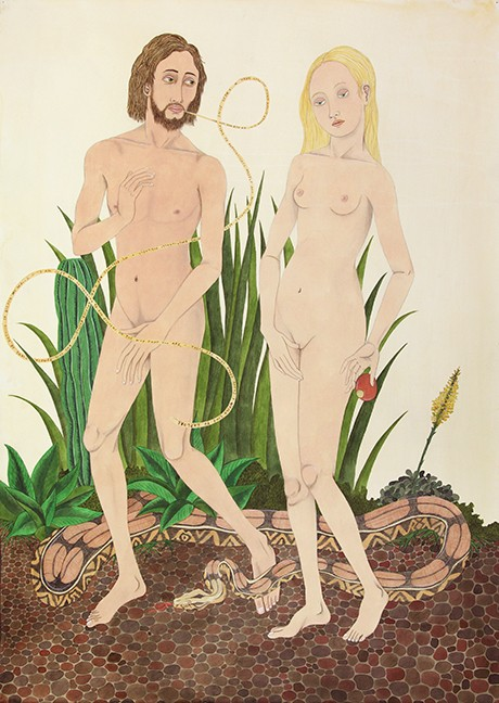 "Ed Templeton, ""Expulsion from Eden (After Vrancke van der Stockt),"" 2012, acrylic on paper, 101 x 72 centimeters."