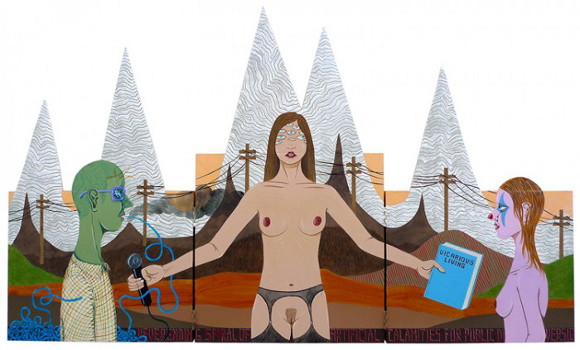 "Ed Templeton, ""Vicarious Living,"" 2010, triptych, acrylic on panel, 115.6 x 68.6 centimeters."