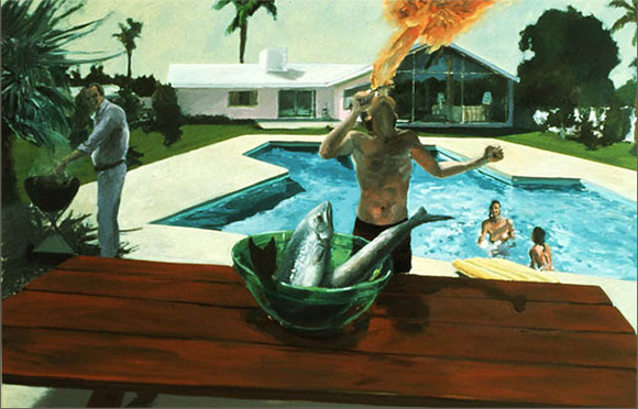 "Eric Fischl, ""Barbeque,"" 1982, Oil on Canvas, 65x100inches 