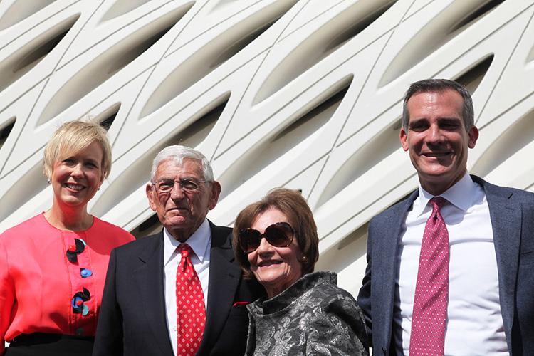 Joanne Heyler, Eli Broad, Edythe Broad and Mayor Eric Garcetti.   Photo: Drew Tewksbury.