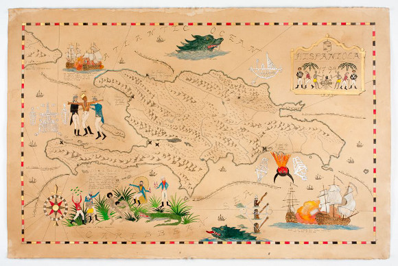 "[Click to enlarge] Frohawk Two Feathers, ""Map of Hispaniola 1794,"" 2012. Ink, acrylic, coffee and tea on paper. 26 x 39.8 in. 