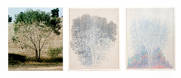 """Falling Leaves #10,"" 1978. Color photograph, ink on paper. Triptych: 20 × 16 in. each; 25 × 57 × 2 in. (framed) Collection of Daisy Addicott. Photo: Randy Vaughn-Dotta"
