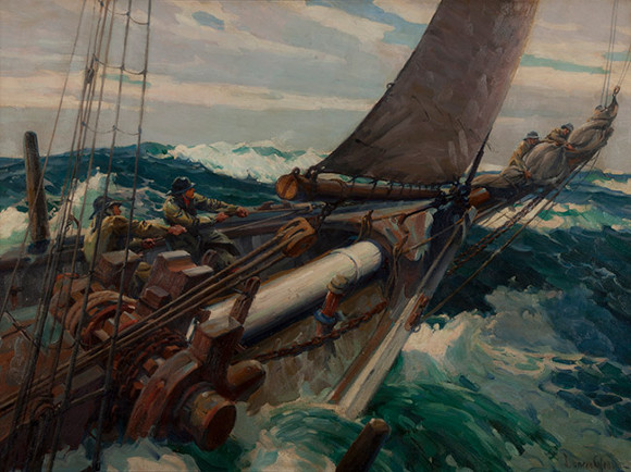 "Joe Duncan Gleason, ""Head Winds (Storm at Sea),"" oil on canvas (Gardena High School, Class of Summer 1935)."