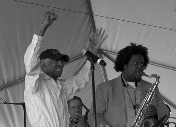 Gerald Wilson and Kamasi Washington, 2013 Central Avenue Jazz Festival | Photo: Sean J. O'Connell
