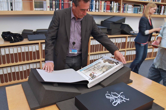 "Rare book curator for the Getty Research Institute,  David Brafman, cracking open ""L.A. Liber Amicorum."" 