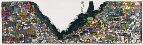 """babel,"" (after Michael Joyce's ""Was,"" 2006), 2006, mixed media on paper, 80"" x 264"". 