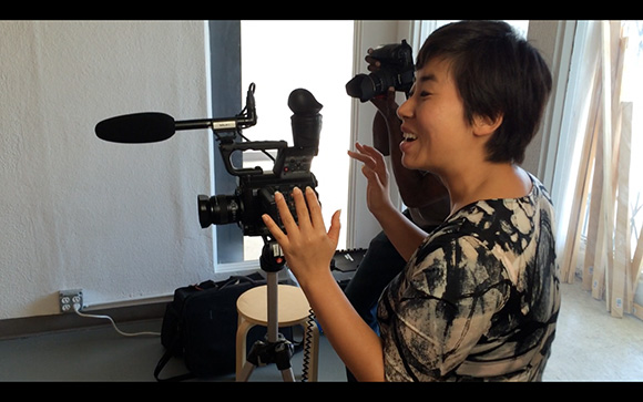 Hanul Bahm setting up shot for oral history | Courtesy of Moonlight Media