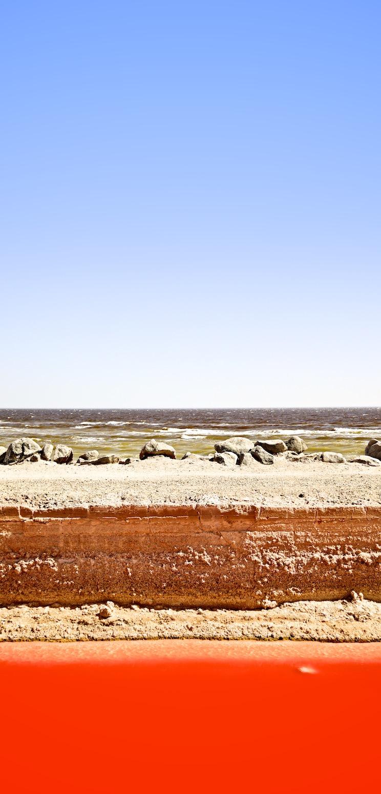 """Sky, Whitecaps, Earth, Halobacteria."" Salton Sea, CA. 2014. | Photo: Osceola Refetoff."