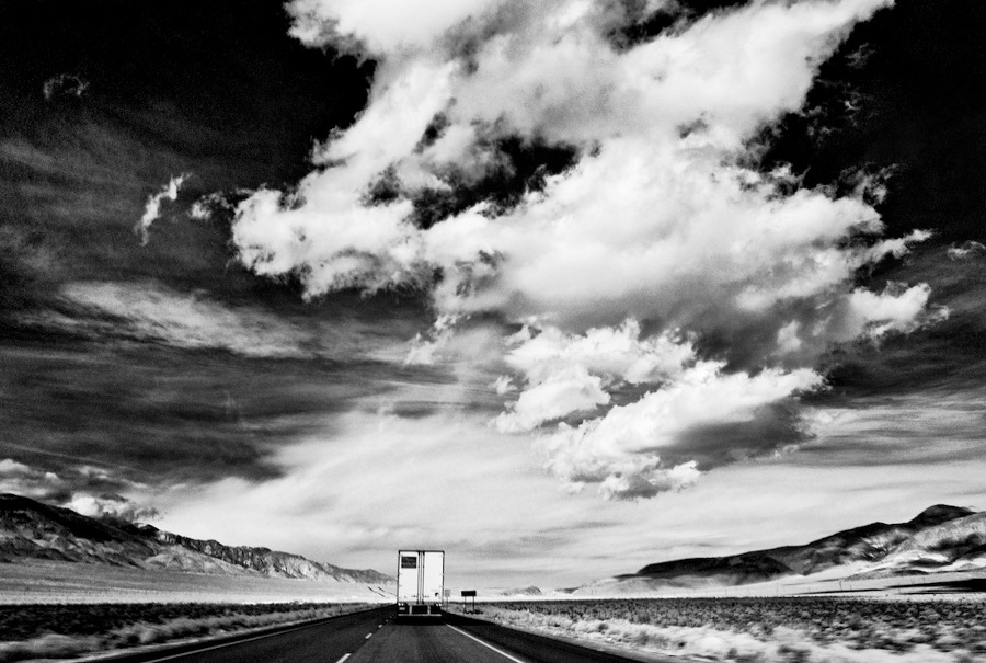 """Sky, Desert, Truck,"" infrared exposure. Highway 395 Near Coso Junction, CA. 2012. 