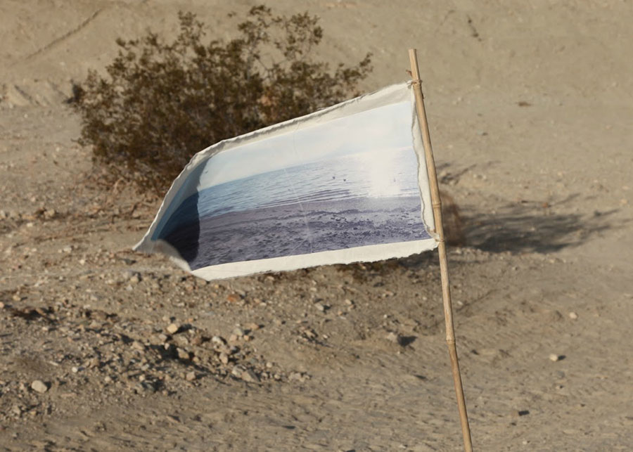 A flag emblazoned with an image of water | Photo: Drew Tewksbury