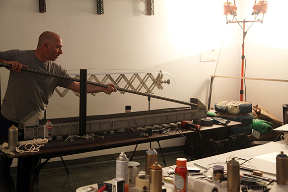 "Miguel Palma, ""Synapse"" in process, 2014, courtesy of 18th Street Arts Center 